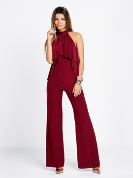 Plain Polyester Slim Wide Legs Jumpsuit