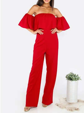 High-Waist Falbala Bell Sleeve Backless Patchwork Wide Legs Jumpsuits