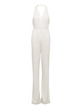 Plain High-Waist Cotton Blends Backless Wide Legs Jumsuits