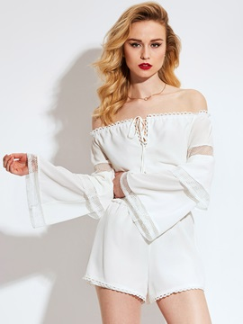 Slash Neck Falbala Bell Sleeve Wide Legs Jumpsuits