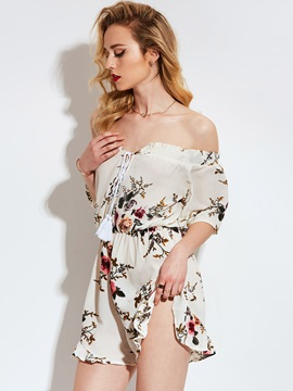 Off Shoulder Floral Loose Shorts Women's Romper