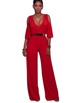 V-Neck Hollow Wide Legs Jumpsuits