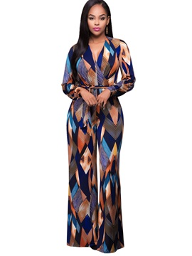 Slim Print Lace-Up Wide Legs Jumpsuits
