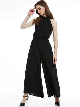 Slim Mid-Waist Plain Wide Legs Women