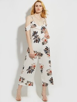 Print Floral Backless Wide Legs Women's Jumpsuit