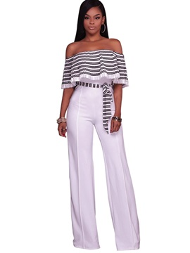Stripe Falbala Pleated Backless Wide Legs Jumpsuits