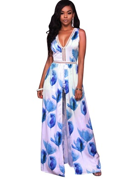 Slim Floral Hollow Asymmetric Jumpsuits