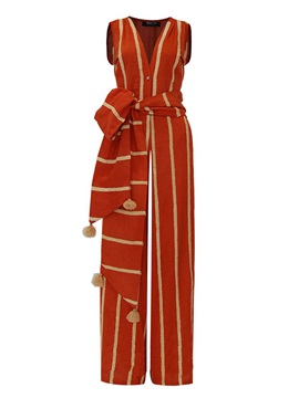 Slim Stripe Color Block Tassel Lace-Up Wide Legs Jumpsuit
