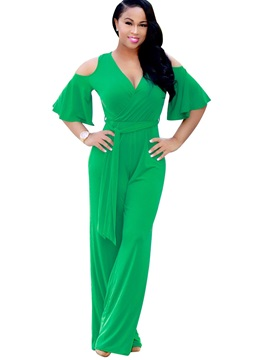 Plain Slim Hollow Wide Legs Jumpsuits