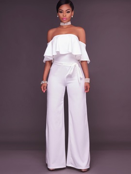 Slim Falbala Pleated Wide Legs Jumpsuits