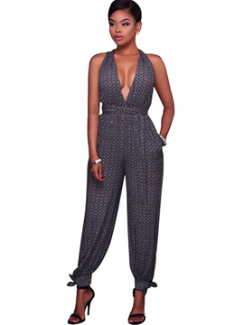Print V-Neck Sexy Backless Knickerbockers Jumpsuits