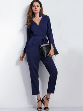 Plain Cotton Blends V-Neck Loose Jumpsuits