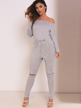 Plain Slash Neck Hole Pleated Jumpsuits