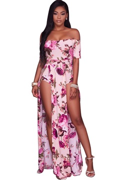 Slim Slash Neck Floral Pleated Jumpsuits