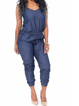Denim Loose Backless Lace-Up Jumpsuits