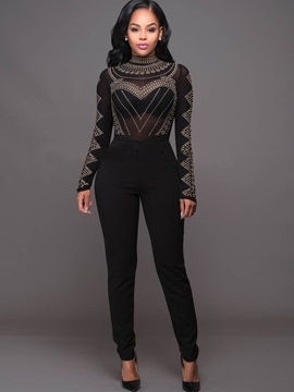 Slim High-Waist Skinny Mesh Diamond Jumpsuits