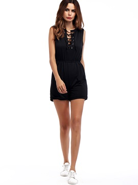 Loose Plain Lace-Up Mid-Waist Rompers