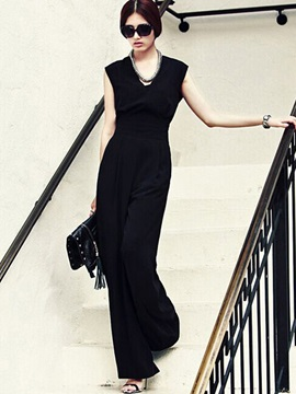 High-Waist Backless Slim Wide Legs Jumpsuits