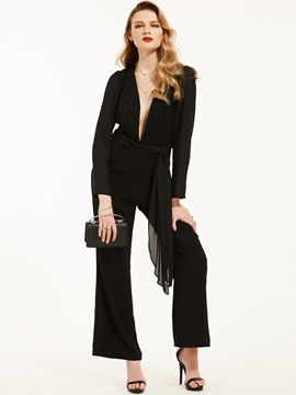 Slim Lace-Up Plain Solid Color Jumpsuit