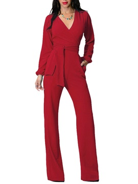 Lace-Up V-Neck Milk Fiber Plain Wide Legs Women's Jumpsuit