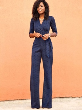 V-Neck Lace-Up Slim High-Waist Jumpsuit