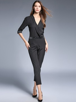 Slim V-Neck Plain Mid-Waist Women's Jumpsuit