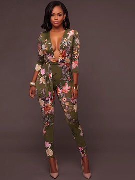 V-Neck Lace-Up Floral Printed Slim Full Length Women's Jumpsuit