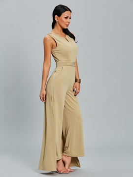 Slim Wide Leg Plain Women's Jumpsuit