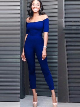 Off Shoulder Ankle-Length Women's Jumpsuit