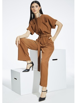 High-Waist Wide Leg Plain Women's Jumpsuit