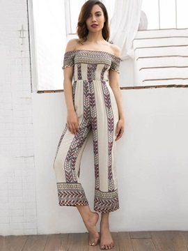Strapless Ethnic Wide Legs Women's Jumpsuit