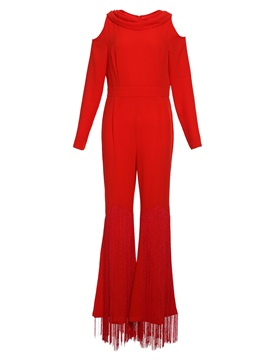Tassel Hollow Wide Legs Women's Jumpsuits