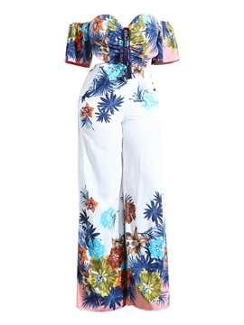 Backless Floral Printed Women's Jumpsuits