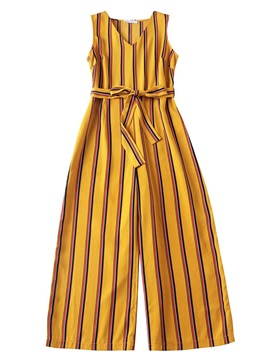 Striped Sleeveless Lace-Up Wide Legs Women's Jumpsuit
