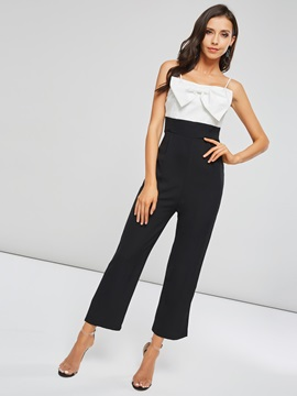 Color Block Straps Bowknot Women's Jumpsuit