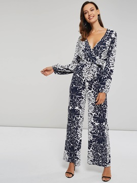 Floral Print V Neck Long Sleeve Women's Jumpsuit