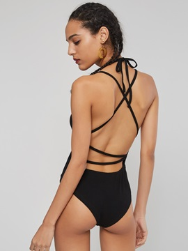 Backless Lace-Up Strap Short Women's Romper