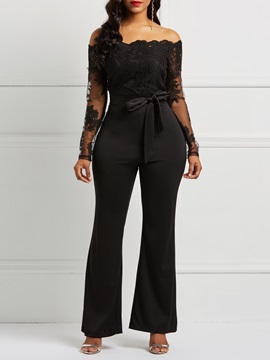 Sexy Mesh Appliques See-Through Women's Jumpsuit
