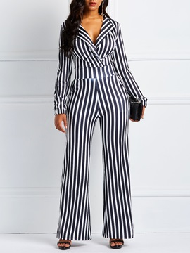 Full Length Western Stripe Slim Women's Jumpsuit