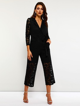 Lace-Up Casual Lace Loose High Waist Women's Jumpsuit