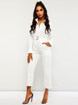 Pocket Full Length Plain Slim Straight Women's Jumpsuit