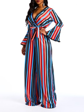Casual Striped Color Block Wide Legs Slim Women's Jumpsuit