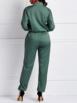 Color Block Casual Full Length Mid Waist Slim Women's Jumpsuit