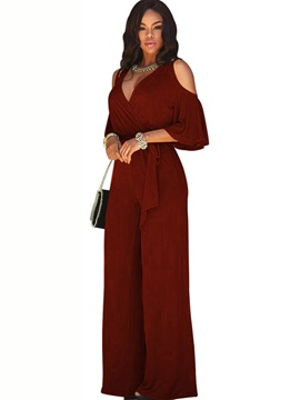 Plain Loose Lace-Up Mid Waist Slim Women's Jumpsuit