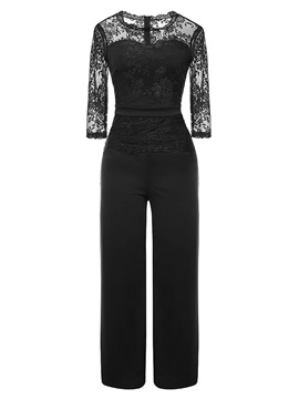 Plain See-Through Lace Half Sleeve Slim Women's Jumpsuit