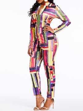 Full Length Print Sexy Slim Color Block Zipper Women's Jumpsuit
