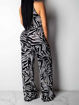 Full Length Print Office Lady High Waist Loose Women's Jumpsuit