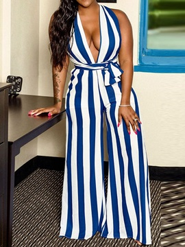 Full Length Stripe Loose Wide Legs Women's Jumpsuit