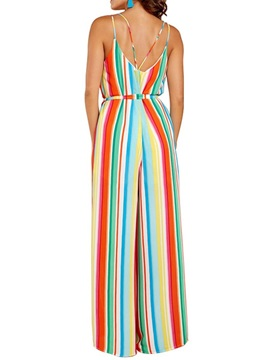 Bowknot Full Length Stripe Wide Legs High Waist Women's Jumpsuit