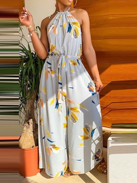 Western Full Length Floral Wide Legs Loose Women's Jumpsuit